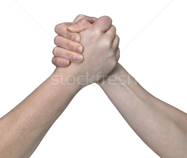 Arm worstelen studio fotografie worstelen handen witte Stockfoto © prill