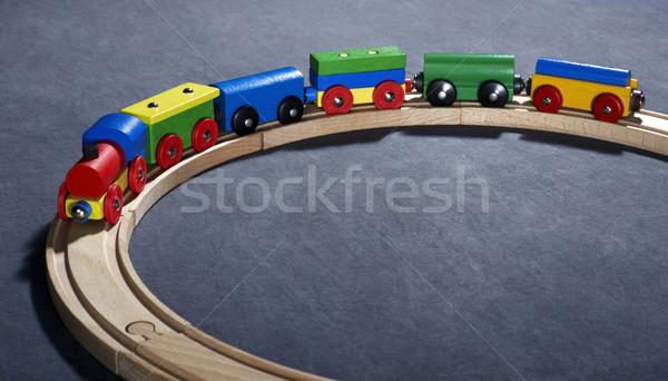 ストックフォト: カラフル · 木製玩具 · 列車 · スタジオ · 写真 · 暗い