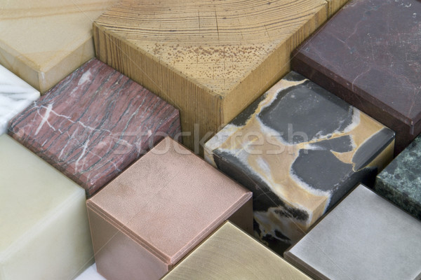 Cubes différent matériaux acier cube Photo stock © prill