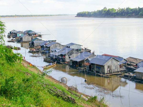 カンボジア 風景 周りに 島 川 家 ストックフォト © prill