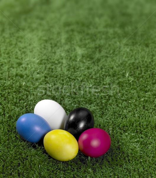 Coloré œufs de Pâques vert herbe artificielle alimentaire Photo stock © prill
