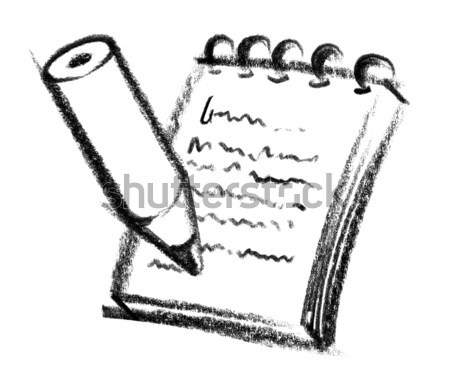 Notepad icon illustratie papier verf teken Stockfoto © prill