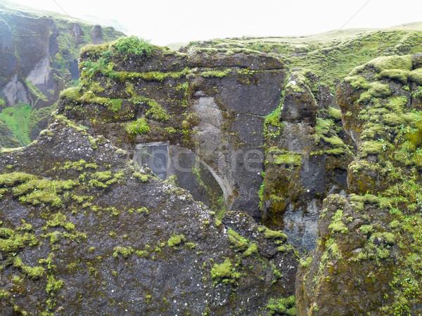 Skała Islandia górskich dekoracje trawy krajobraz Zdjęcia stock © prill