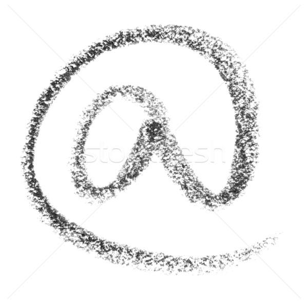 Rajz zsírkréta festett szimbólum fehér hát Stock fotó © prill