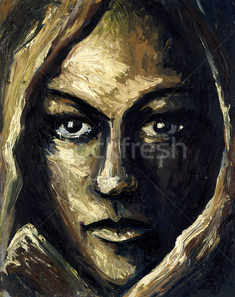 Vrouwelijk gezicht olie schilderij me tonen Stockfoto © prill