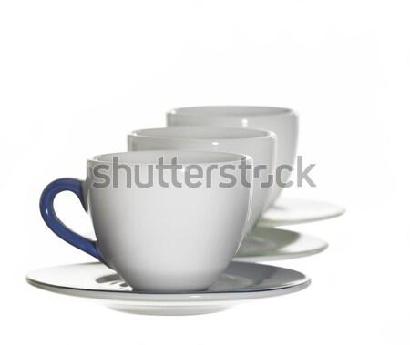 Fehér porcelán csészék stúdió fotózás egy Stock fotó © prill