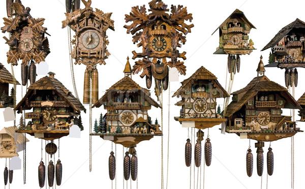 Różny kukułka zegary biały powrót Zdjęcia stock © prill