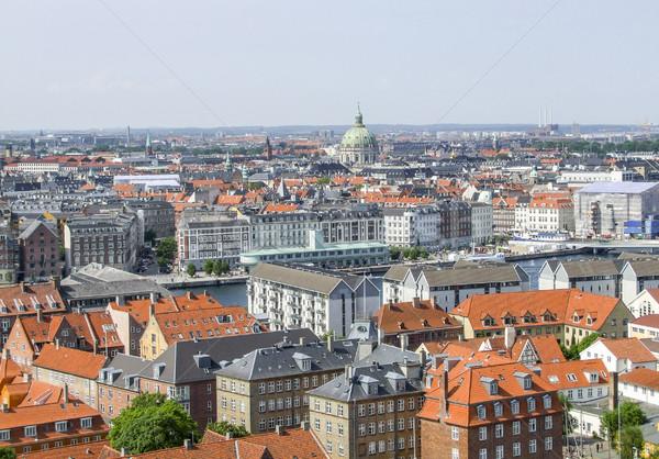 Kopenhagen Denemarken luchtfoto stad reizen stedelijke Stockfoto © prill