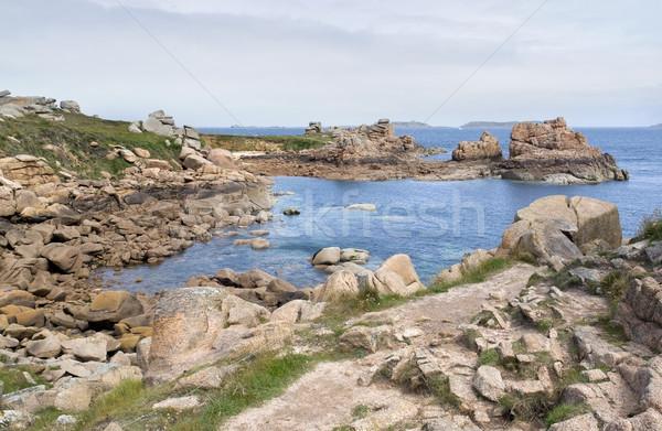 Stok fotoğraf: Etrafında · manzara · pembe · granit · sahil · plaj