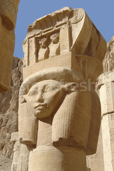 sculpture at the Mortuary Temple of Hatshepsut Stock photo © prill