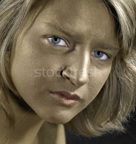Arany arc fiatal nő portré kék szemek nők Stock fotó © prill