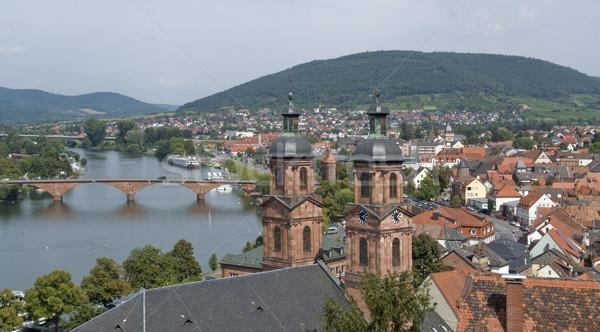 Widok z lotu ptaka lata czasu małe miasto południowy Niemcy Zdjęcia stock © prill