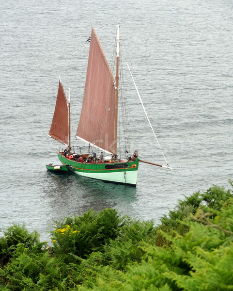 Dois barcos nostálgico veleiro costa oceano Foto stock © prill