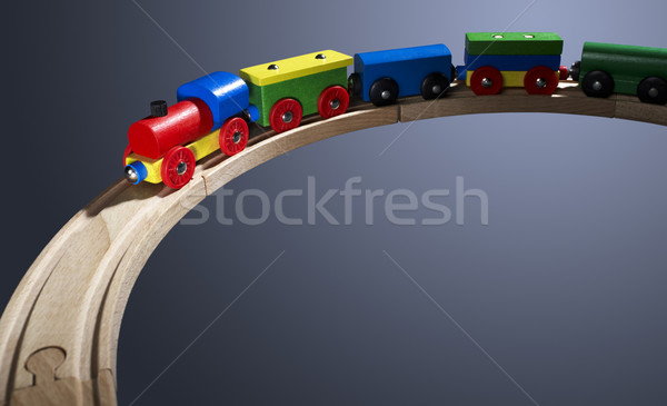 colorful wooden toy train on tracks Stock photo © prill