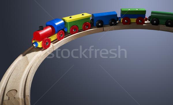 Kleurrijk houten speelgoed trein studio fotografie donkere Stockfoto © prill