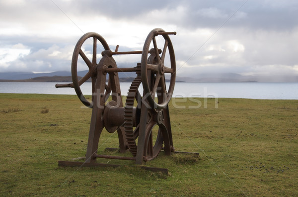 rusty old winch seaside in Scotland Stock photo © prill