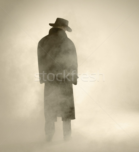 Woman wearing trench coat and standing in fog Stock photo © prill