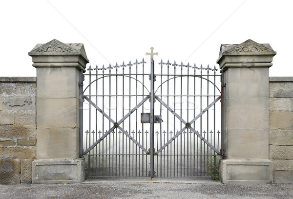 wrought-iron gate and wall Stock photo © prill