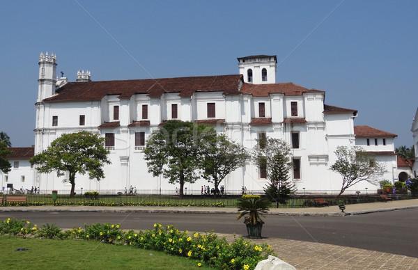 Foto stock: Catedral · goa · velho · Índia · grama · edifício