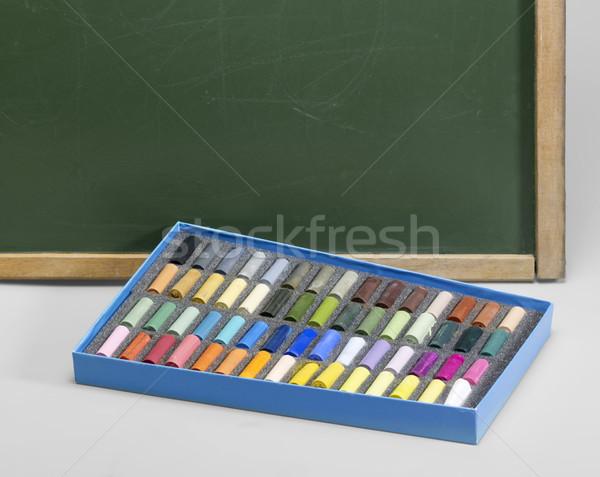 blackboard edge and crayons Stock photo © prill