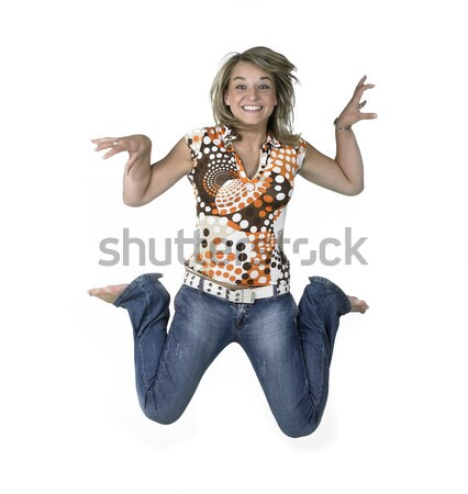 crazy blond jumping girl Stock photo © prill