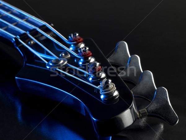 Detay bas gitar mavi ışık siyah Stok fotoğraf © prill