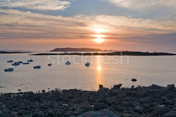 закат розовый Гранит побережье идиллический лодках Сток-фото © prill