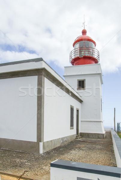 Deniz feneri madeira ada Bina kırmızı beyaz Stok fotoğraf © prill
