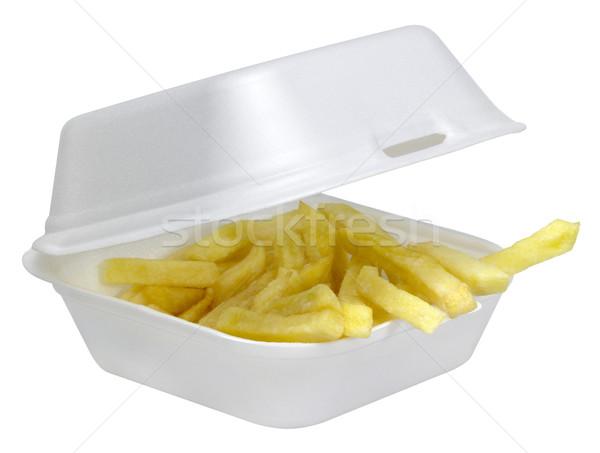Frites françaises blanche plastique boîte ouvrir isolé Photo stock © prill