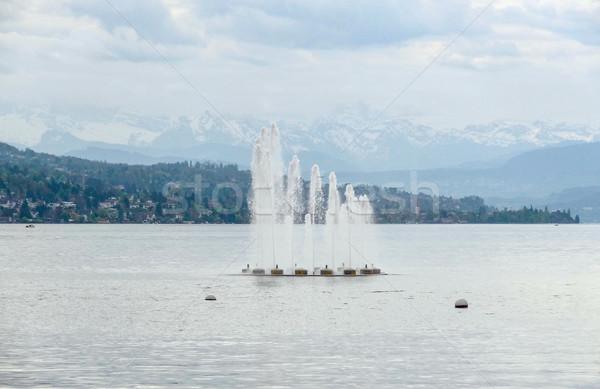 Etrafında göl Zürih manzara su çeşme Stok fotoğraf © prill