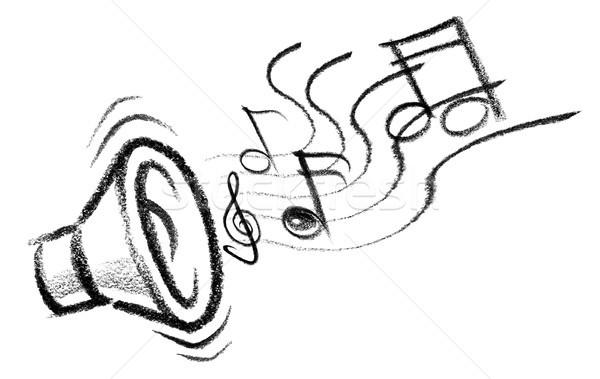 Stok fotoğraf: Ses · ikon · örnek · konuşmacı · müzik · notaları · müzik