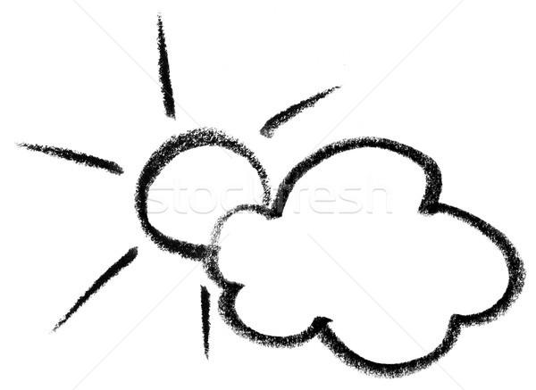Weer icon illustratie wolk zon teken Stockfoto © prill