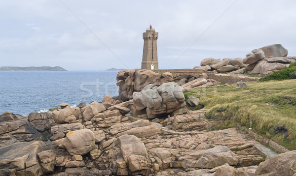 Lighthouse at Perros-Guirec Stock photo © prill