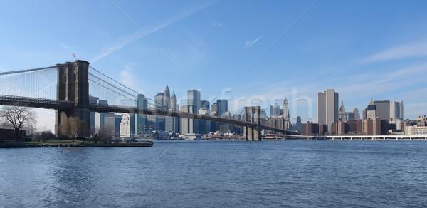 橋 ニューヨーク スカイライン 米国 川 ストックフォト © prill