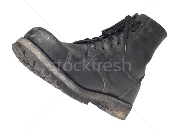 Harc csizma használt fekete izolált fehér Stock fotó © prill