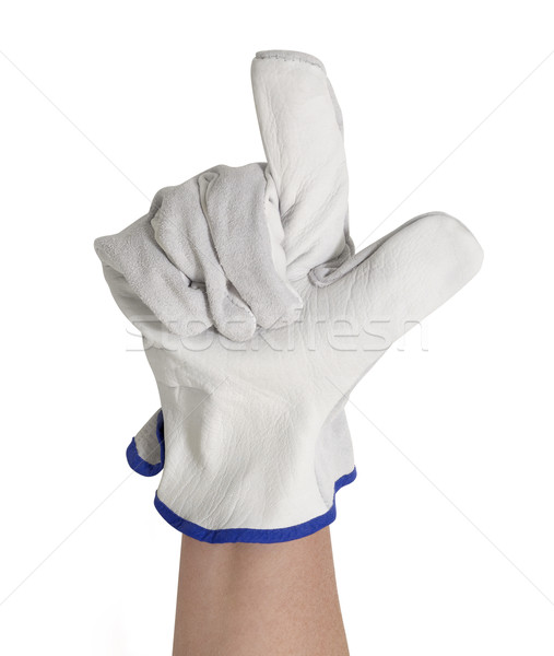 gloved hand showing two fingers Stock photo © prill