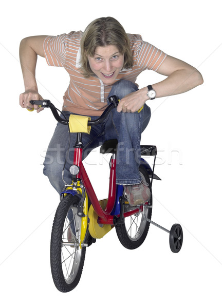 mad bicycling girl Stock photo © prill