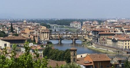 Florence napos megvilágított panorámakép kilátás Toszkána Stock fotó © prill