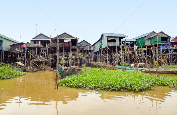 traditional settlement at the Tonle Sap river Stock photo © prill