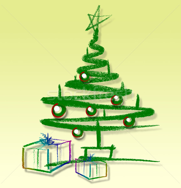 sketched christmas tree Stock photo © prill
