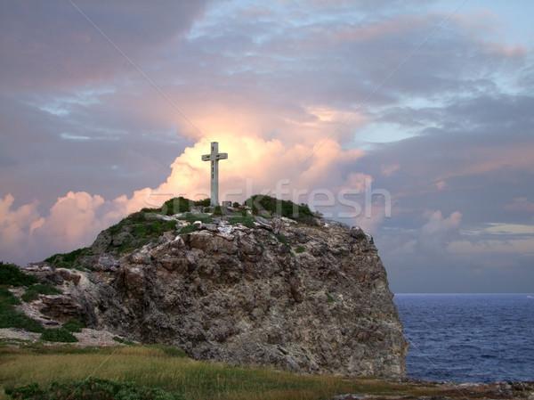 Krzyż górskich górę kolorowy zachód słońca Zdjęcia stock © prill