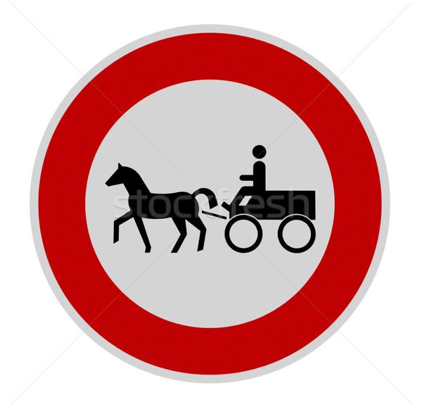 Nem fuvar felirat közlekedési tábla tilos fehér Stock fotó © prill
