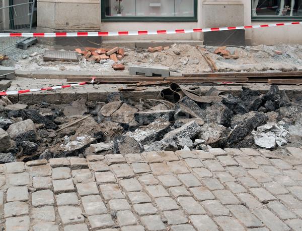 útépítés város Csehország ház út munka Stock fotó © prill