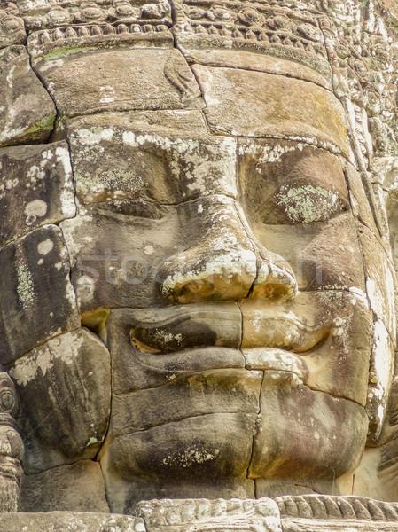 彫刻 詳細 寺 アンコール カンボジア 顔 ストックフォト © prill