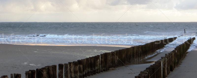 Kust landschap houten strand zee oceaan Stockfoto © prill