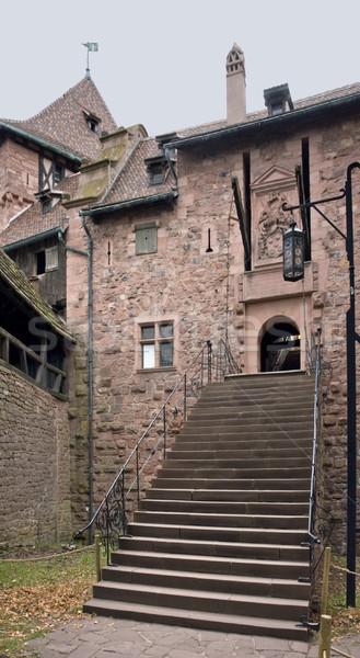 Klatka schodowa zamek historyczny ściany kamień moc Zdjęcia stock © prill