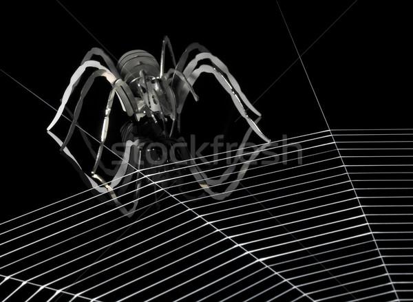 Metal spider ragnatela semplificato artificiale rosso Foto d'archivio © prill