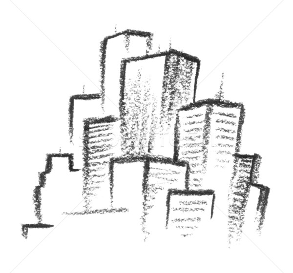 Ville illustration Skyline architecture gratte-ciel noir et blanc Photo stock © prill