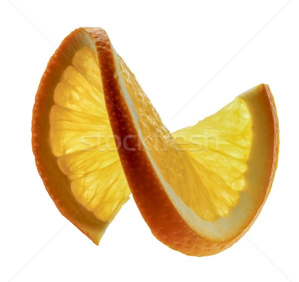 Oranje doorsnede plakje oranje vruchten witte Maakt een reservekopie Stockfoto © prill