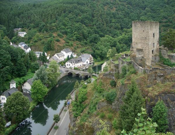 Esch sur Sûre with castle ruin Stock photo © prill